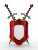 Two sword and shield on white background — Stock Photo