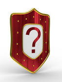 Red shield on white background — Stock Photo