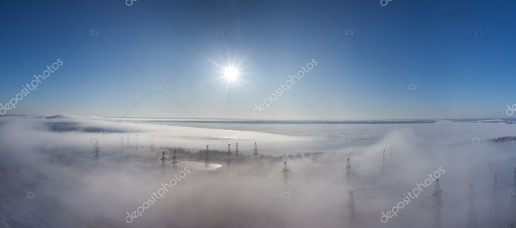 Winter landscape. fog over earth. top view. Panorama  Stock Photo #2192096