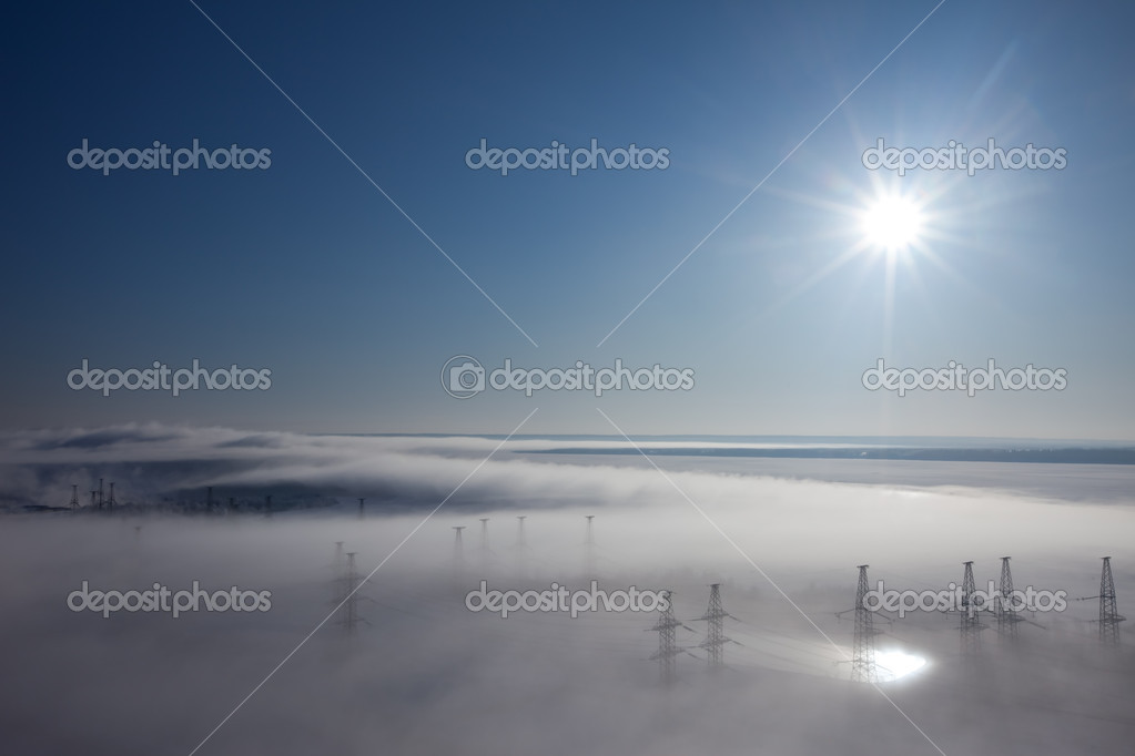 Winter landscape. fog over earth. top view — Stock Photo #2192124