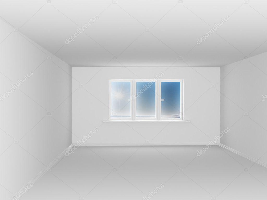 leerer wei er raum mit fenster stockfoto 2208505. Black Bedroom Furniture Sets. Home Design Ideas