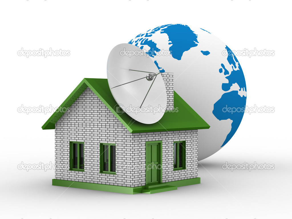 Satellite aerial on house. Isolated 3D image — Stock Photo #2263394