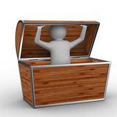 Man into box on white background — Stock Photo
