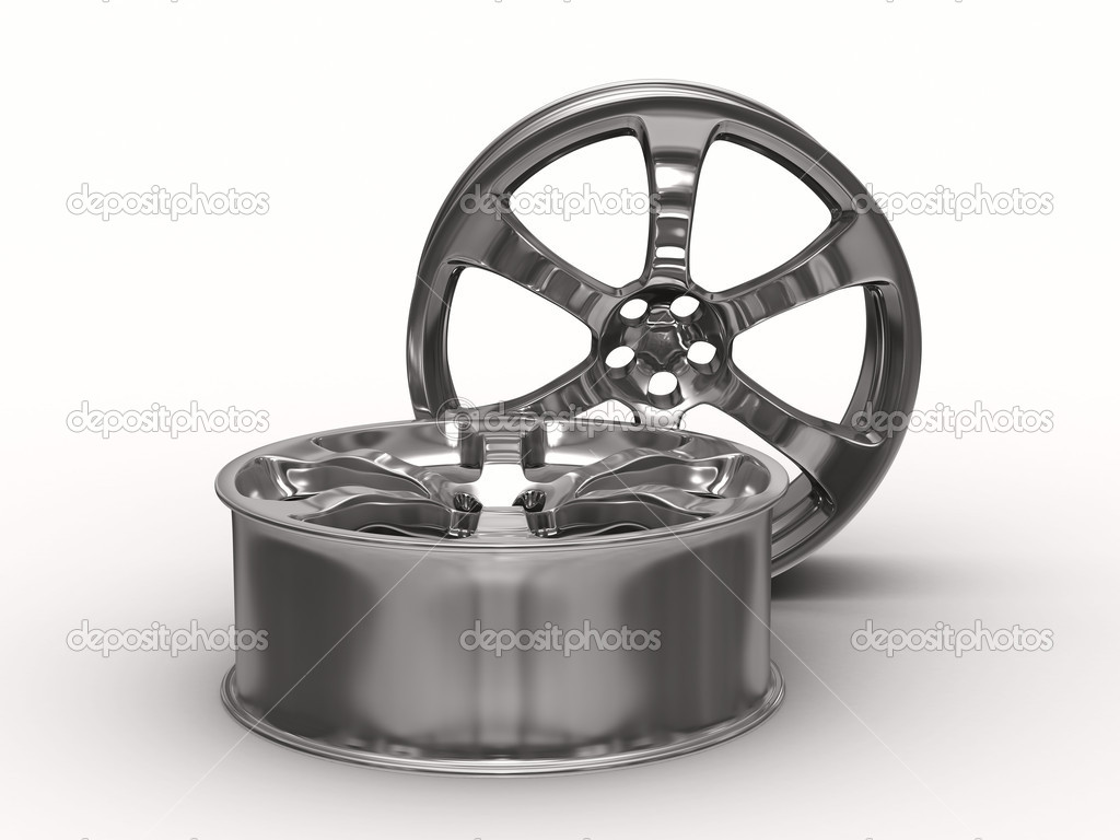 Two disk wheel on white background. Isolated 3D image — Stock Photo #2604136