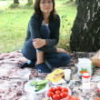 Young pretty woman on picnic — Stock Photo