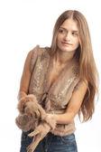 Mladá dívka s rukavice — Stock fotografie