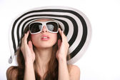 Gorgeous girl in striped hat — Stock Photo