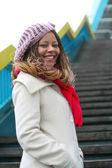 African girl in white coat — Stock Photo