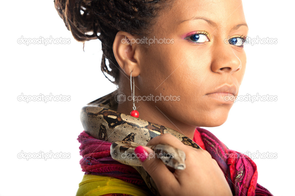 Young woman with python on the white background — Stock Photo #1186965