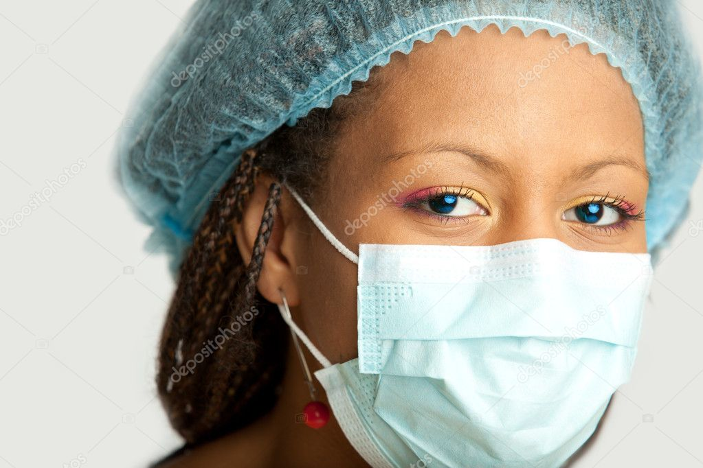Portrait of the medical nurse in mask  Stock Photo #1186974