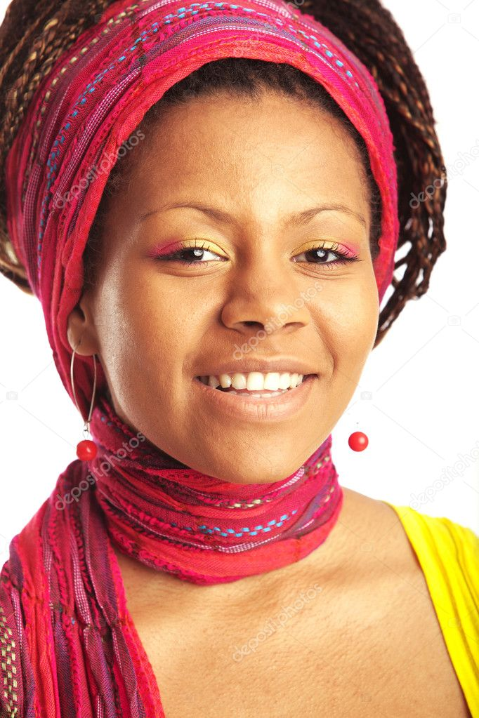 Black young woman portrait with varicolored scarf on the head — Stock Photo #1187140