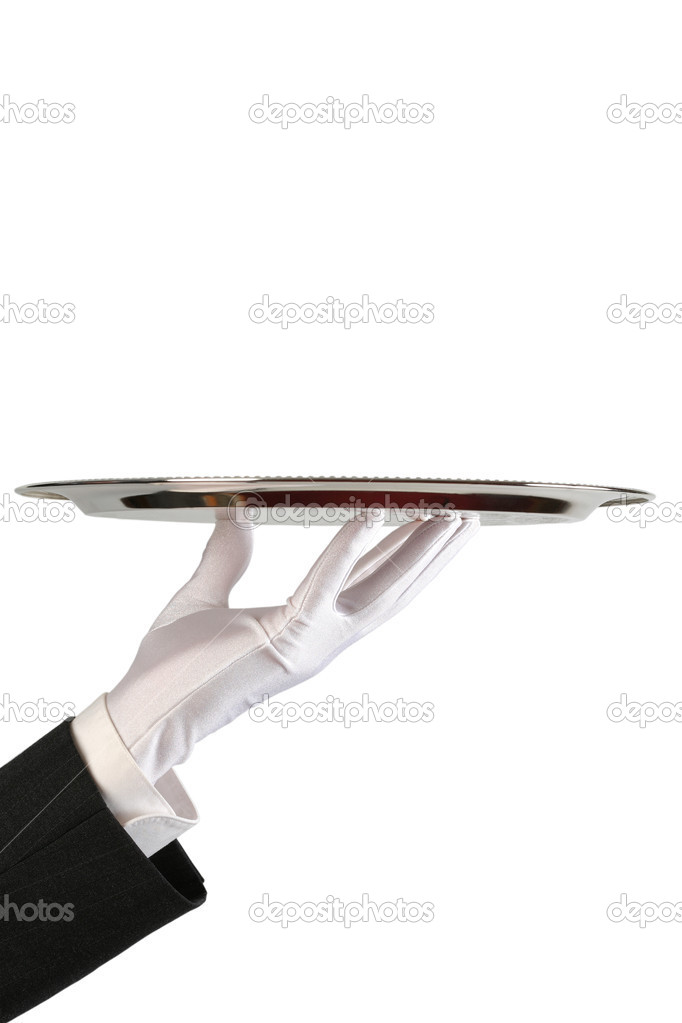Hand of the waiter in white glove with silver dish on white background with copy-space — Stock Photo #1187186