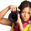 Woman with camera — Stock fotografie