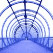 Blue glass corridor - Stock Photo