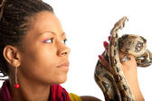 Black woman with python — Stock Photo