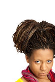 Black girl with exotic hairstyle — Stock Photo