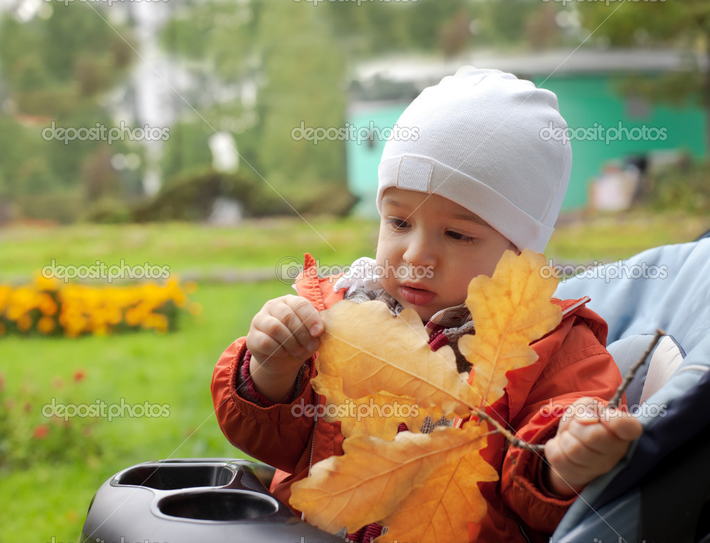 Small boy and autumn leafs — Stock fotografie #1356510