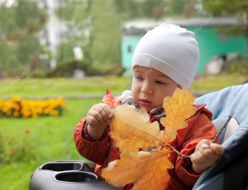 Small boy and autumn leafs — Lizenzfreies Foto #1356510