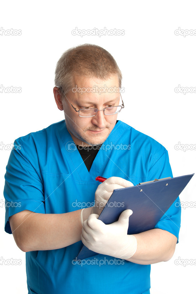 Doctor prepares report after operation — Stock Photo #1356641