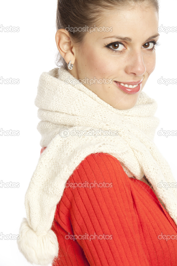Portrait of a young beautiful woman with a white winter scarf. Isolated over white background  — Stock Photo #1358744