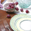 Grape and Ceramic Dishes - Stock Photo