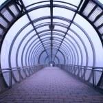 Futuristic glass tunnel — Stock Photo