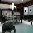 Interior of the black-silvery kitchen - Foto Stock
