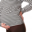 Expectant mother in monochrome t-shirt — Stock Photo