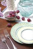 Uva y platos de cerámica — Foto de Stock