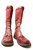 Footwear, Old Red Boots — Stock Photo