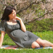 Stock Photo: Pregnant womby springtime