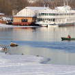 Winter Landscape with Green Boat - Stok fotoğraf