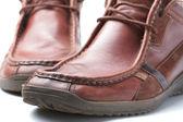 Footwear, Brown Old Male Shoe — Stock Photo