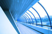 Futuristic glass corridor — Stock Photo