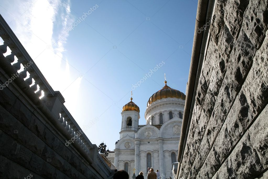 Moscow, Russia, Blue Sky on Orthodox Temple — Stock Photo #1383090