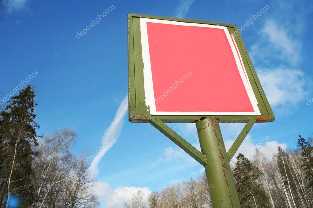 Empty red billboard on the sky background — Stock Photo #1383187