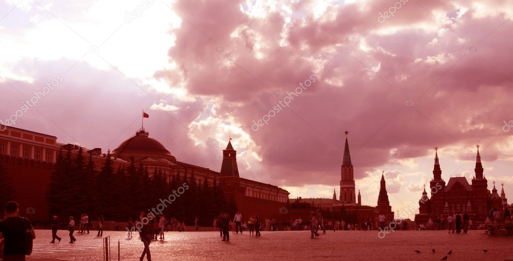 Moscow, Russia, Red Square in Red, Editorial  Lizenzfreies Foto #1387306