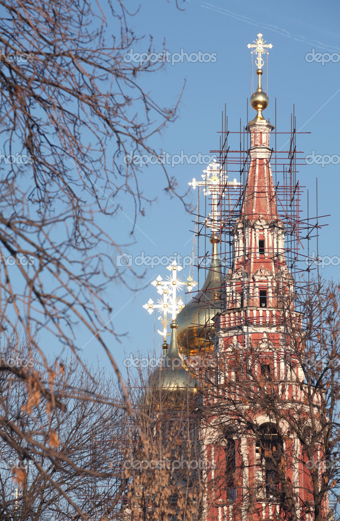 Solar Spring Day, Orthodox Temple on Repair, Sparkling  on the Sun Crosses  Stock Photo #1387318