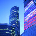 Evening skyscrapers — Stock Photo