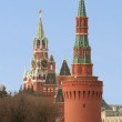 Moscow, Russia, Towers and Kremlin Wall — Stock Photo