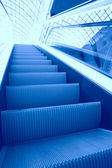Steps of the blue escalator — Foto Stock