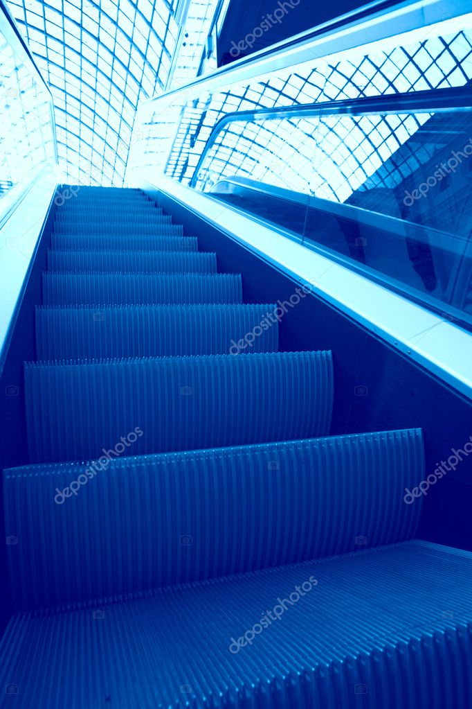 Abstraction, geometric perspective of the escalator steps  Stock Photo #1393135