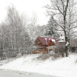 Winter landscape with house — Stock fotografie