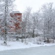 Winter landscape with red house — Stok fotoğraf