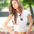 Glamour model in park — Stock Photo