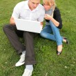 Students with laptop — Stock Photo #1406002