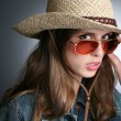 Pretty woman in the cowboy hat — Stock Photo