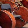Four old bass viols — 图库照片