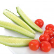 Cucumber and Tomatoes - Stock Photo