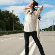 Stock Photo: Asiatic model on the road